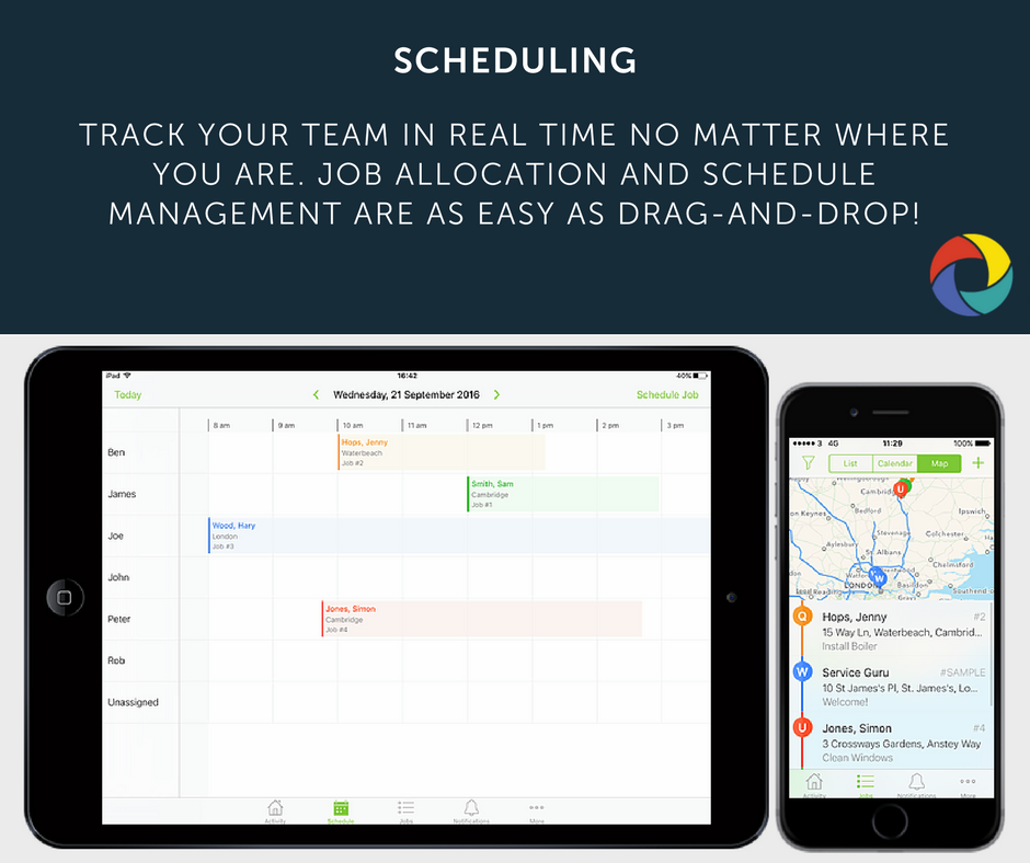 Track your team in real time no matter where you are. Job allocation and schedule management are as easy as drag-and-drop!