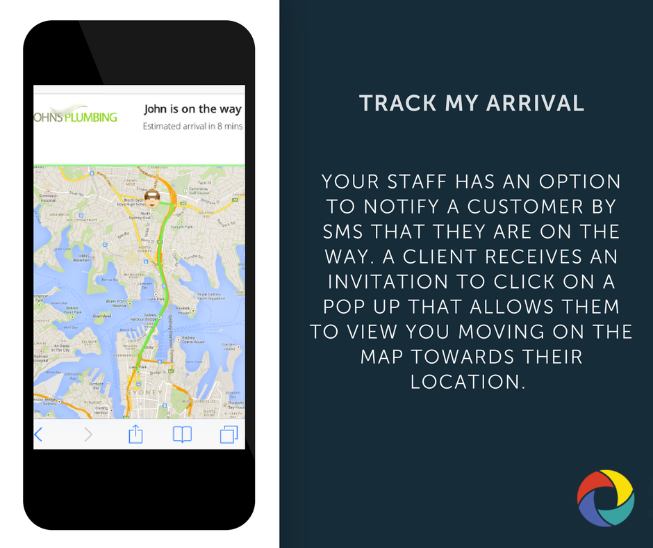Your staff has an option to notify a customer by SMS that they are on the way. A Client receives an invitation to click on a pop up that allows them to view you moving on the map towards their location.