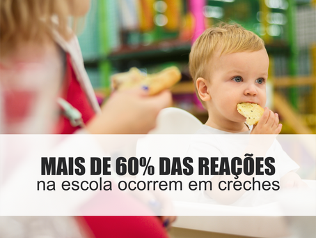 Sabia que mais de 60% das reações alérgicas a alimentos na escola ocorrem em pré-escolas e creches?