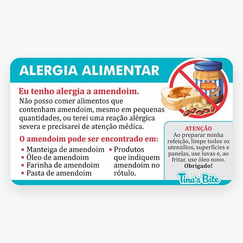 Cartão Alergia a Amendoim - Em PVC