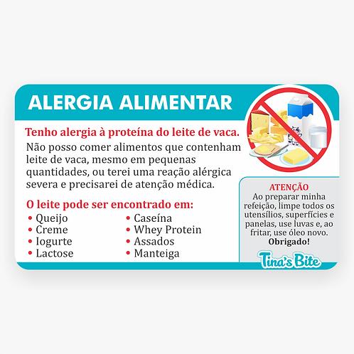 Cartão Alergia a Leite (APLV) - Em PVC