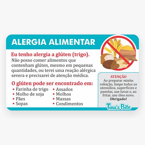 Cartão Alergia a Glúten - Em PVC