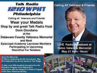 Military Monday with Dom Giordano        Live Broadcast at the Memorial                 9:00 AM - No