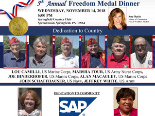 5th Annual  Freedom Medal Dinner           Wednesday, November 14, 2018 6:00 PM
