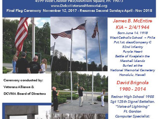 Casket Flag Raising Ceremony Sunday October 15th, 5:00 PM