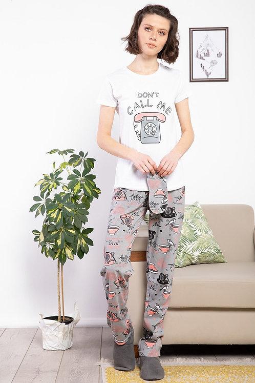 Telefon Baskılı Pamuklu Kadın Pijama Takımı