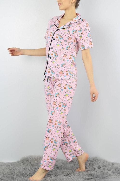 Kadın Düğmeli Pijama Takımı