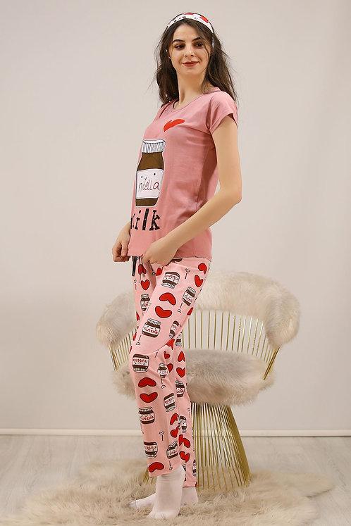 Kadın Nutella Baskılı  Pamuklu PijamaTakımı