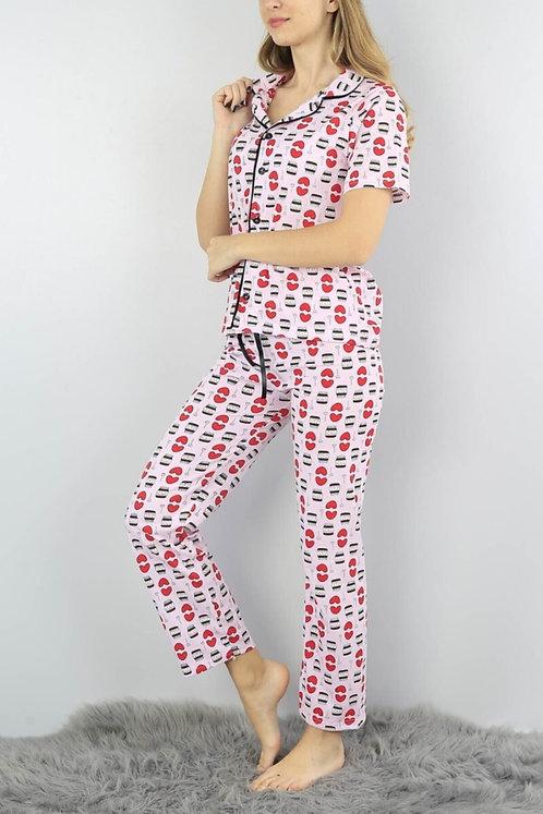Kadın Pembe Nutella Baskılı Düğmeli Pijama Takımı