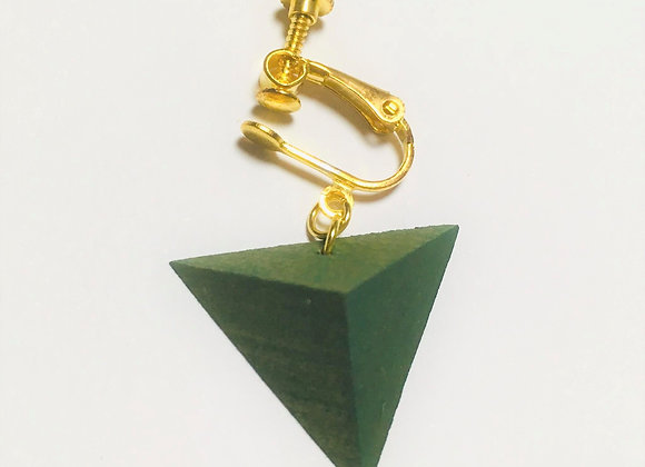 Small Tsumiki Earring【Clip/Green】