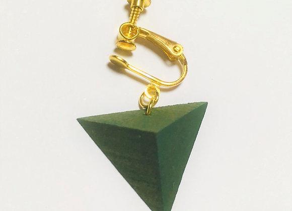Small Tsumiki Earring【Clip/Green】