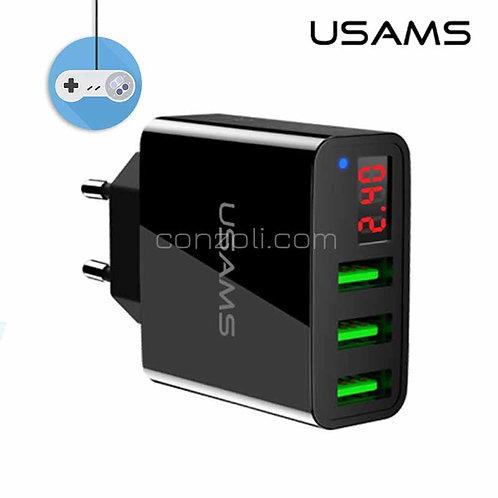 USAMS зарядно с 3 USB порта и LED показател