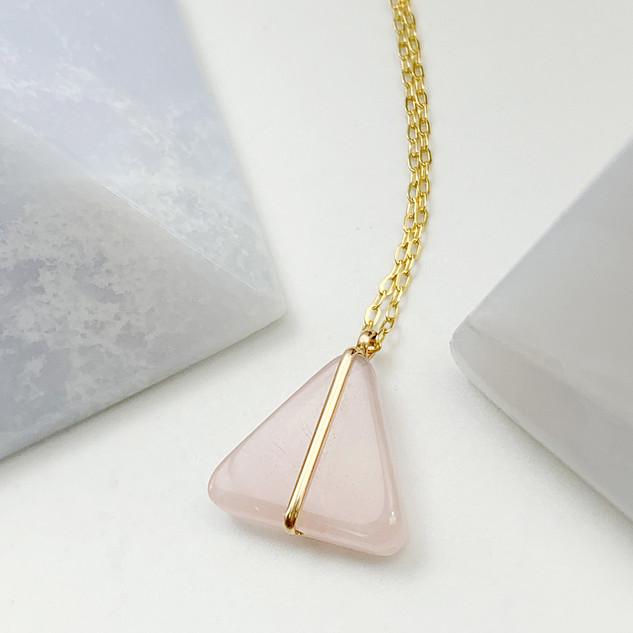Lisa Slodki Triangle Necklace (rose quar