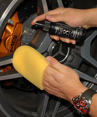 mercedes benz wheel rim with hand applicator sponge and product spray
