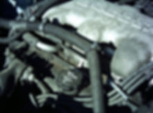 Close-up view of dirty engine compartment