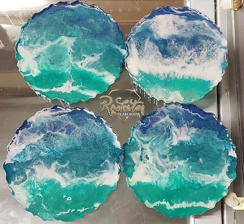 """Ocean View"" Coaster/Caddy Set"