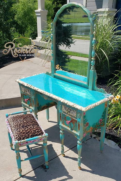 """Leilani "" vanity and stool set"