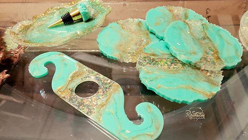 Tiffany's Opal wine caddy/stopper set