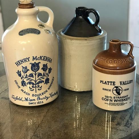Vintage whiskey jugs