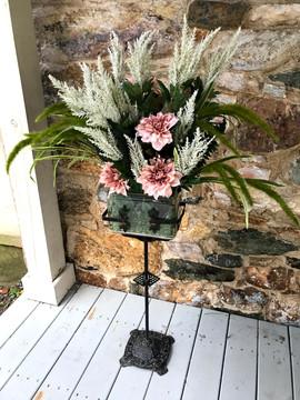 Antique Fish Bowl Flower Arrangement