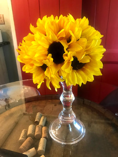 Sunflower Rounds - $2 each; with glass holder -$5 each