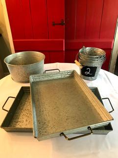 Galvanized Trays and Buckets - $3 ea