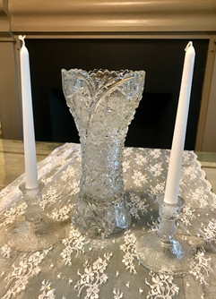 Crystal Glass Vase and Candlesticks