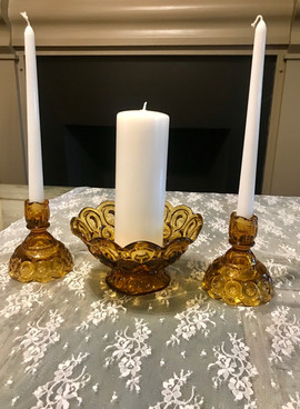 Amber Glass Unity Candle Set