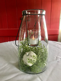 Glass Lantern Candle Holders - $5 ea w/greenery