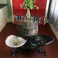 Vintage Wine Barrel Table with Tractor Stools