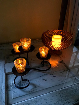 Amber Glass Candle Holders - $10