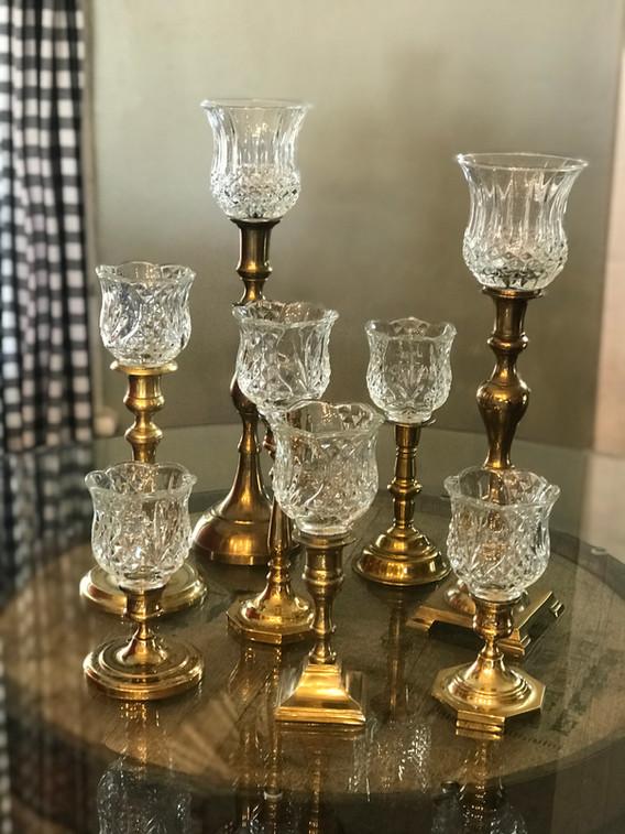 Vintage pegged glass votives