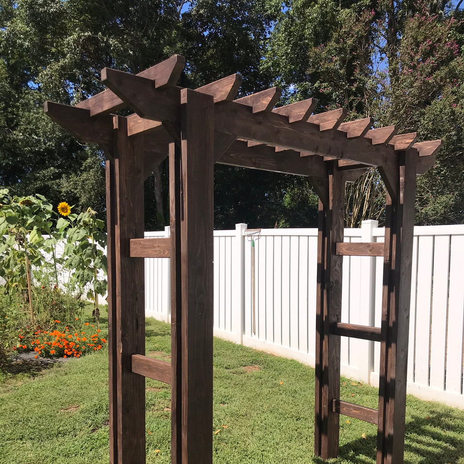 Wood Stained Garden Arbor