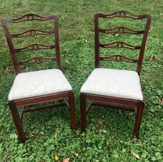 Vintage Dark Wood Bride and Groom Chairs