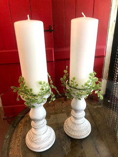 Rustic Wood Candle Holders w/ candles and greenery - $5 ea