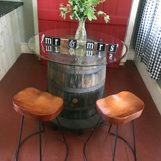 Vintage Wine Barrel Table with Wood Stoo