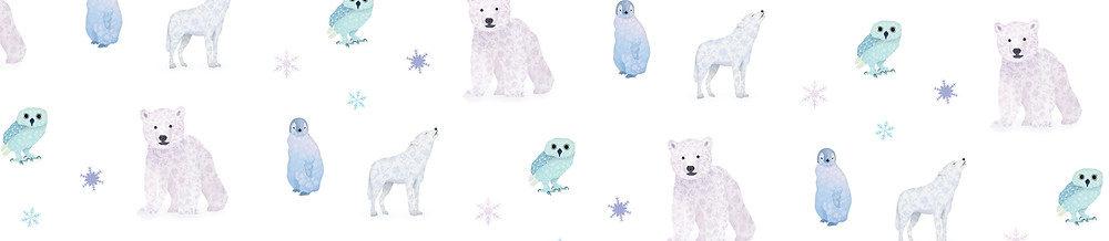 Motif Hiver Ours Loup Pingouin Chouette Neige
