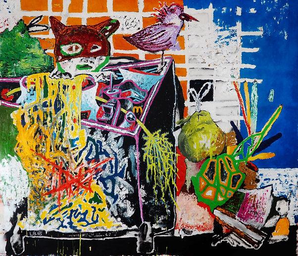 Peinture représentant la rue de marseille et une poubelle