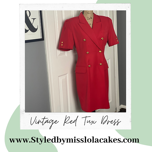 Vintage Red Tuxedo Dress
