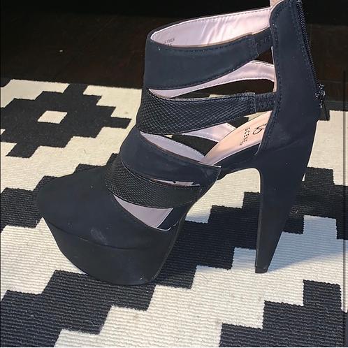 Shoe Dazzle Black Bootie Heels