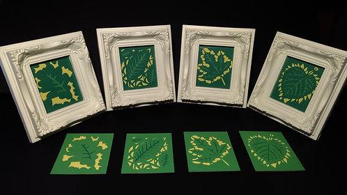 Set of Four Framed Leaf Miniatures