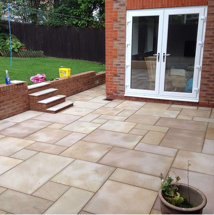Extension brickwork, indian flags, brick wall and steps - complete