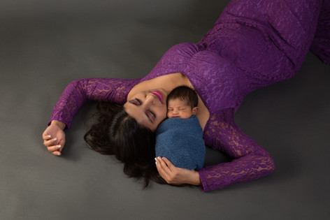 Mom with newborn in gown
