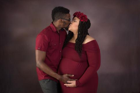 Maternity burgundy couple