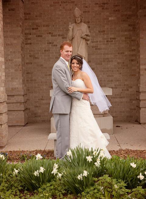 Bride and groom outdoors wedding photographer