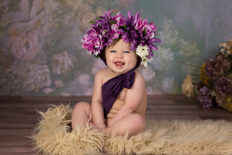 flower bonnet sitter baby photography