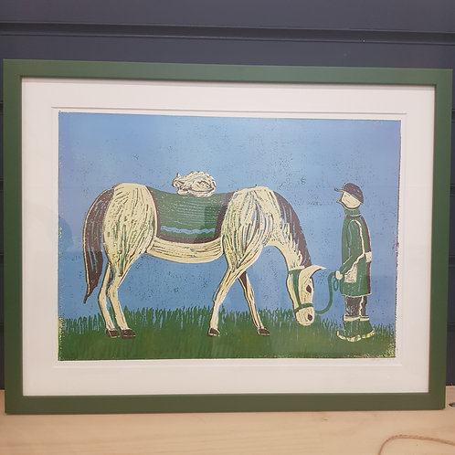 A Horse and a Cat (Framed Print) - Rebeca Beyer