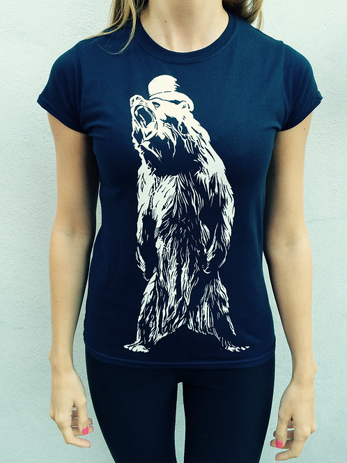 Ladies Bear Logo Tee (Navy Blue)