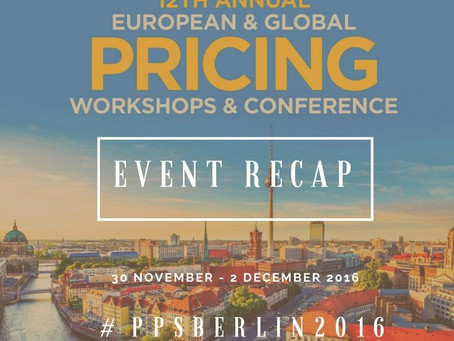 The European Pricing Workshops & Conference RECAP 2016