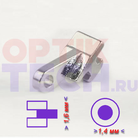 Шарнир №1 одинарный для пластиковой оправы  (1,6 х1,4 мм), 20 шт.